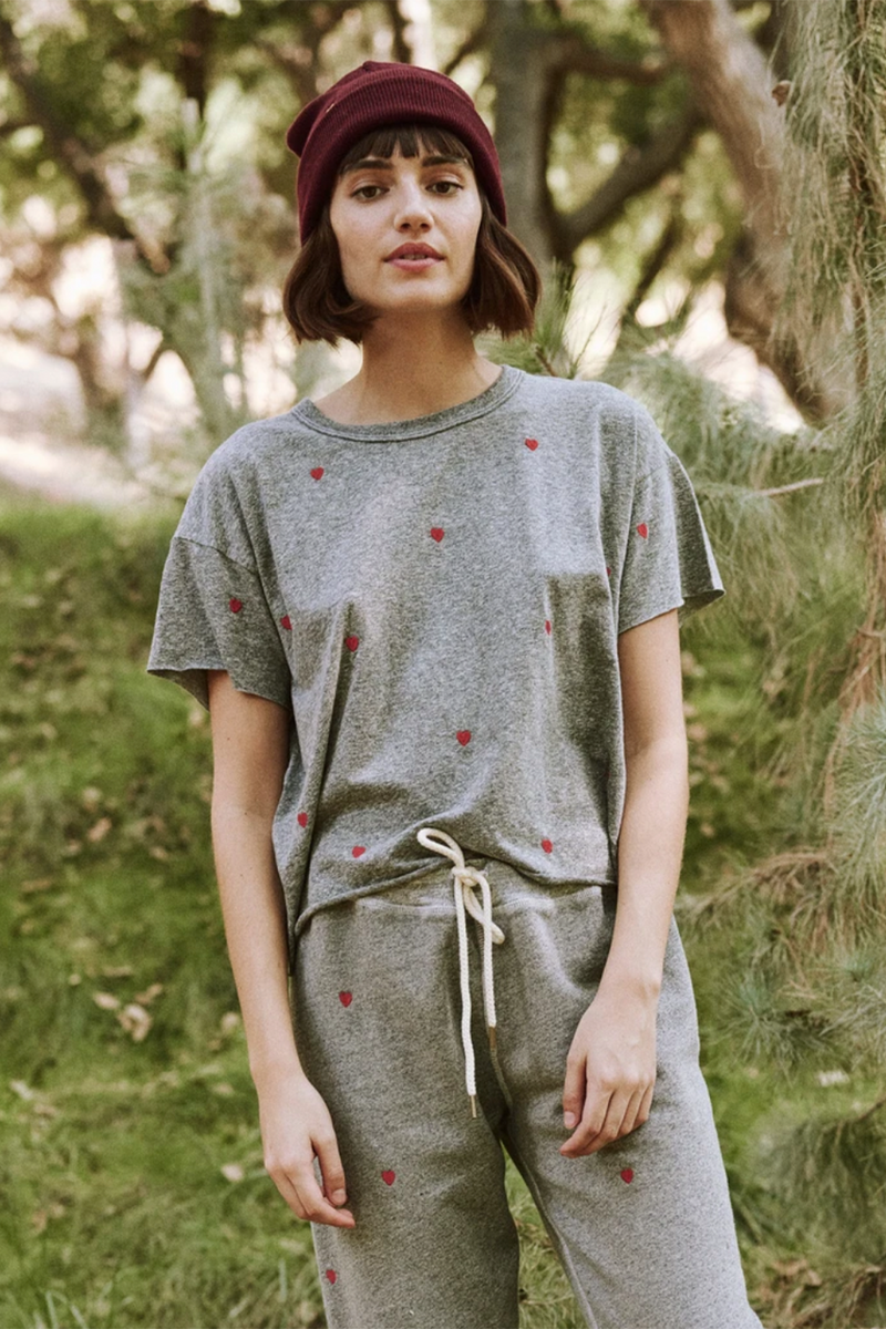 The Crop Tee with Heart Embroidery in Heather Grey