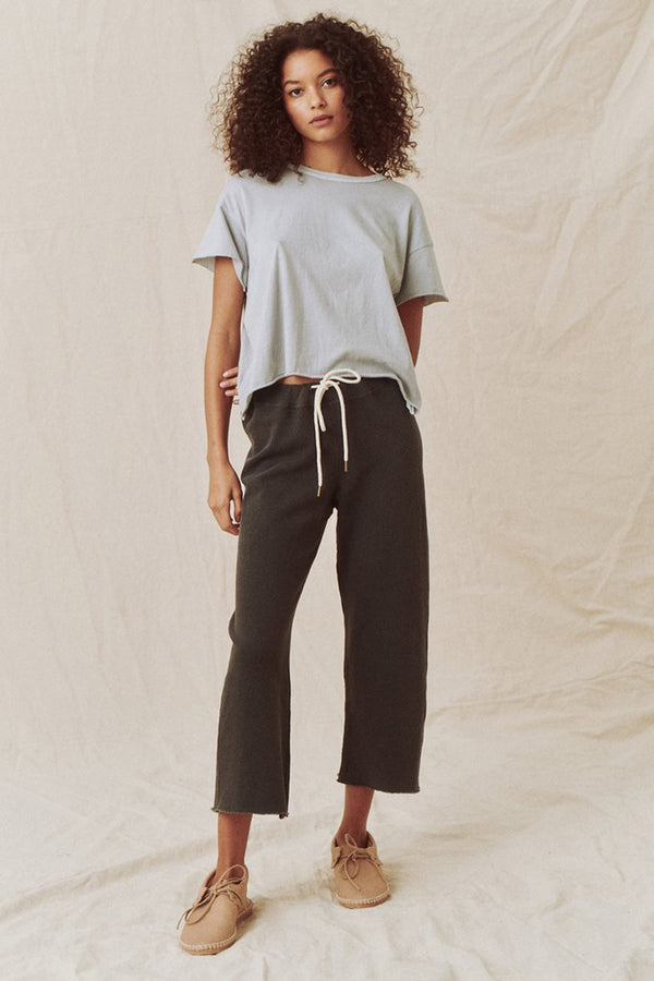 The Wide Legged Cropped Sweatpant in Washed Black