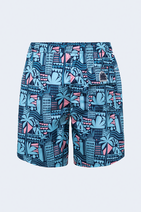 Pervis  Elastic Waist Piping Pocket Swim Short in Navy