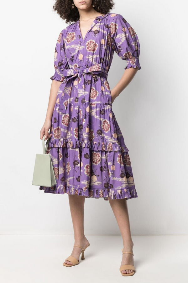 Dasha River Blossom Printed Dress in Zinnia