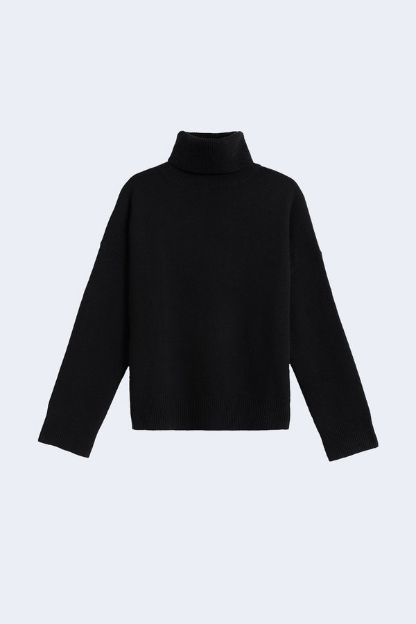 Drop Shoulder Turtleneck in Black