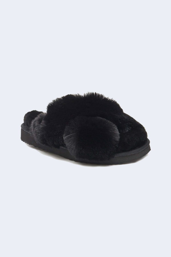 Elsa Faux Fur Slippers in Noir