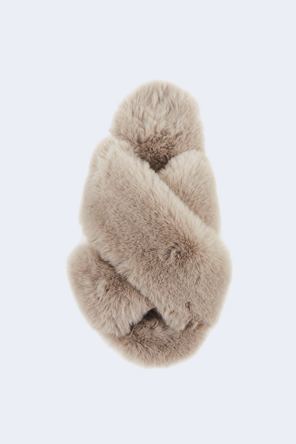 Elsa Faux Fur Slippers in Taupe