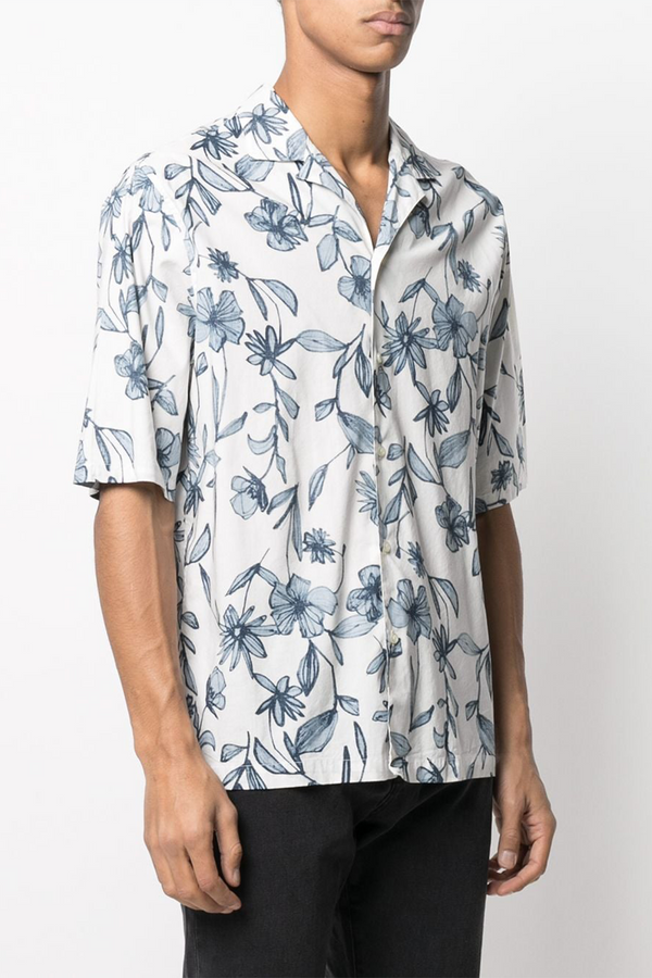 Eren Japanese Cotton Flower Print Shirt in Ecru Blue