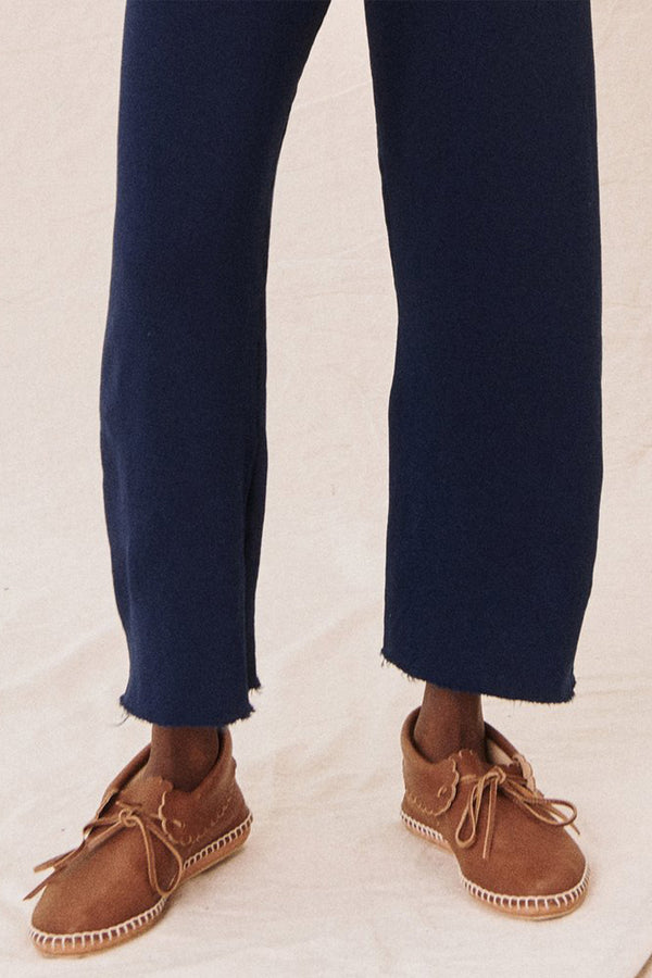 The Wide Legged Cropped Sweatpant in Bright Navy