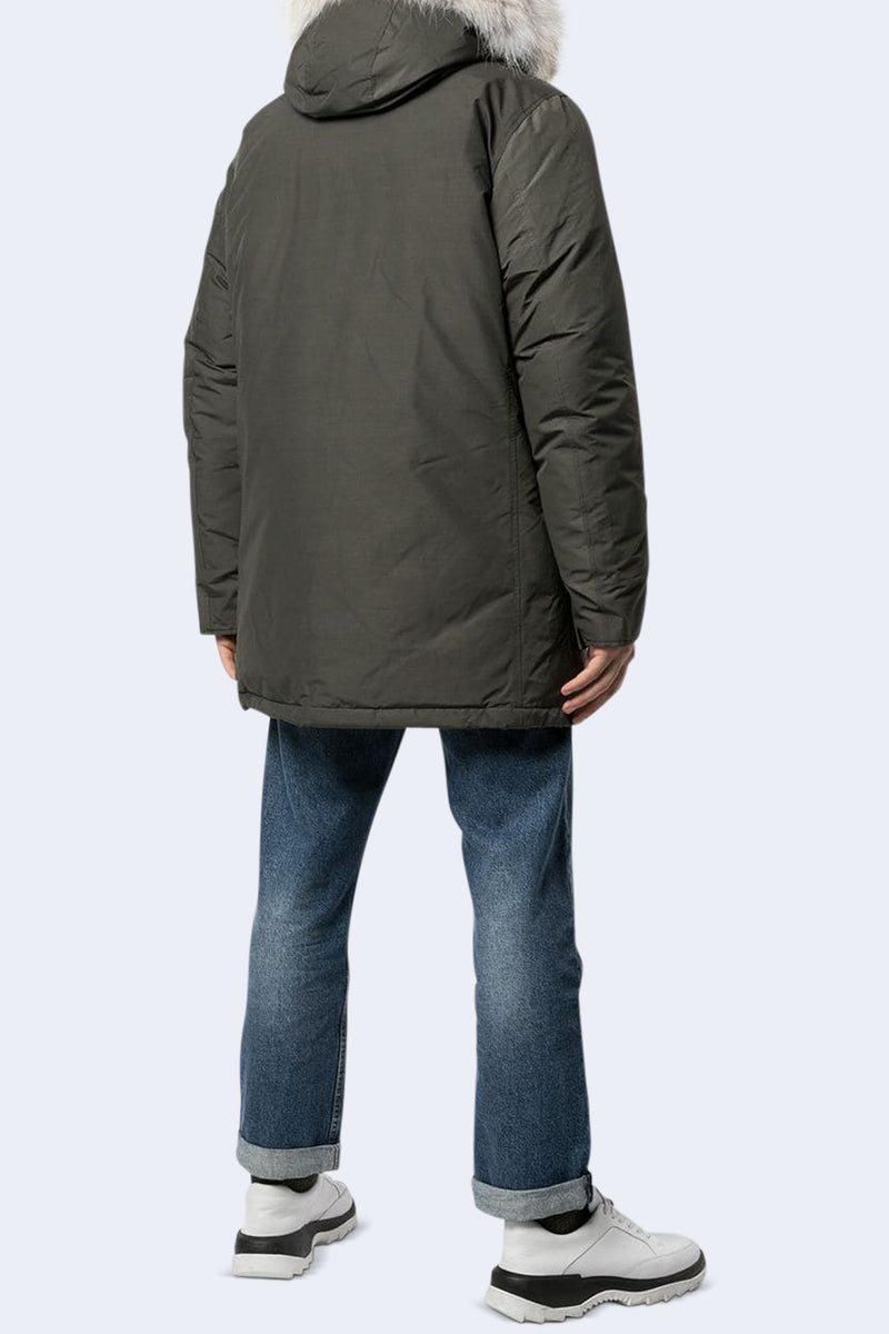 Men's Arctic Parka with Detachable Fur in Faded Black
