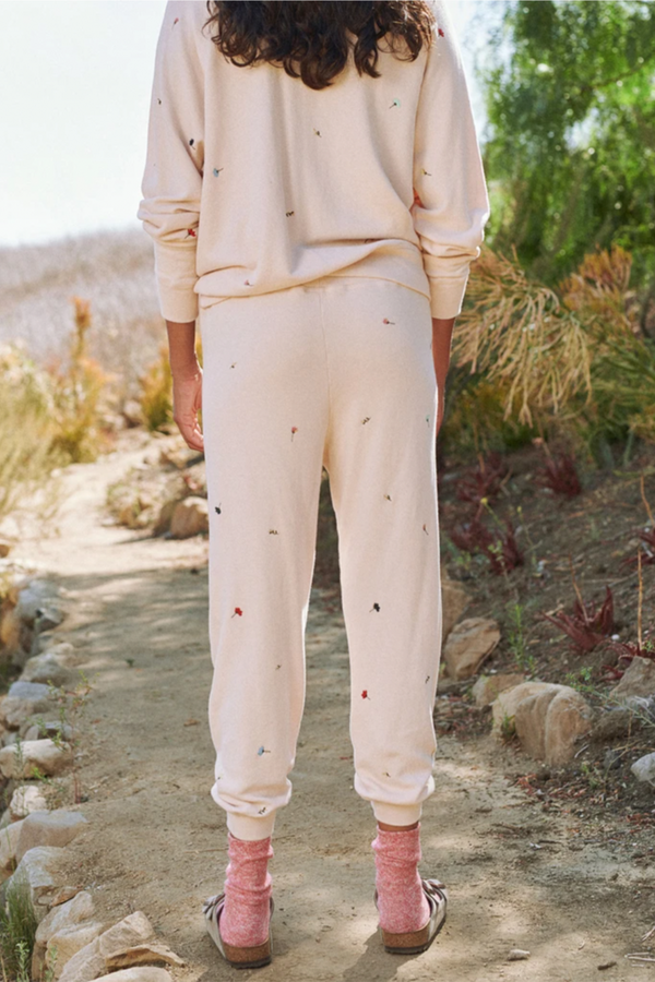 The Cropped Sweatpant with Tossed Floral Embroidery in Whisper Pink