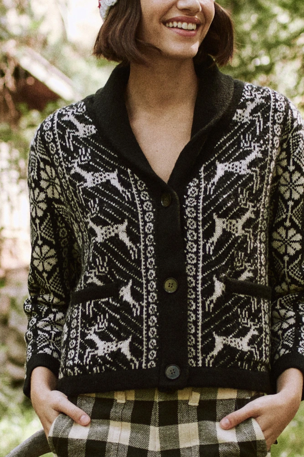 The Folktale Lodge Cardigan in Almost Black with Cream