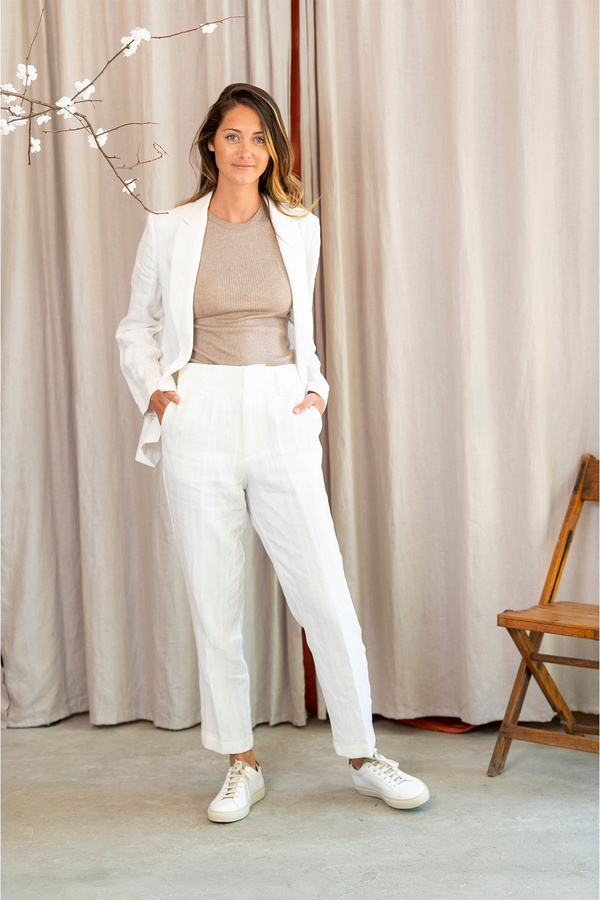 Cotton Linen Herringbone Pants in Bianco