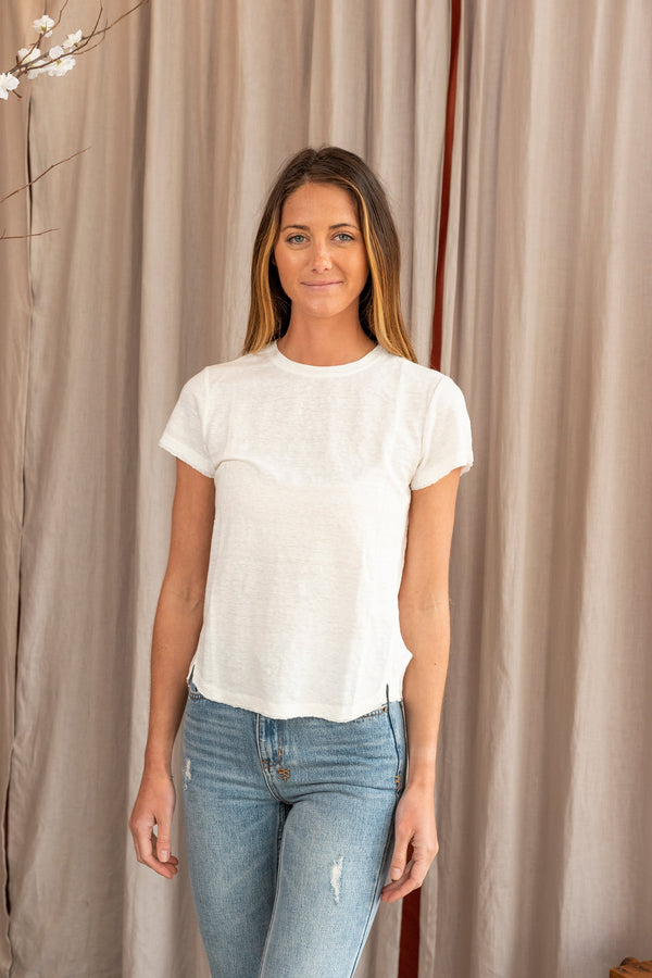 woman modeling Easy True Tee in white