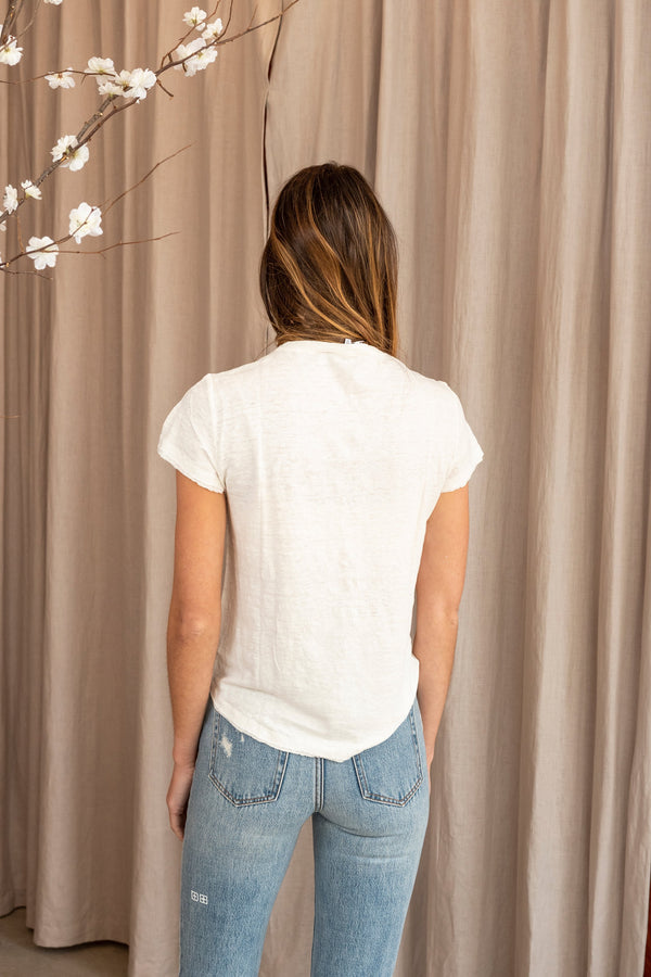 Woman modeling the back of Easy True Tee in white