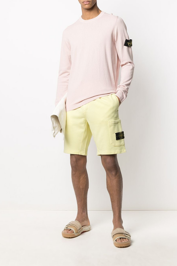 Fleece Shorts with Tie Waist and Side Pocket in Lemon
