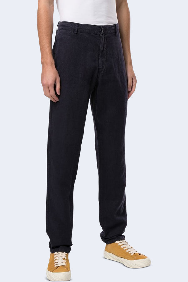 Funzionale Linen Long Trouser in Blue