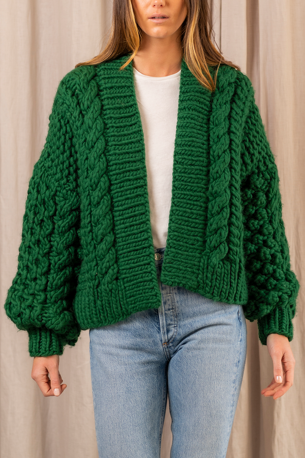 Mix Cable Chunky Wool Bomber in Green