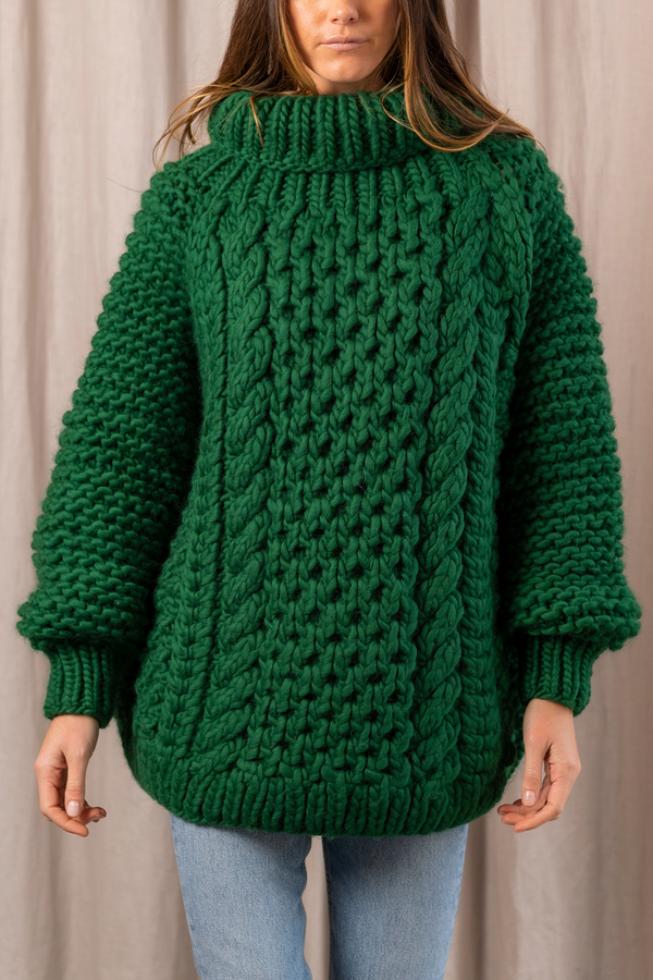 High Neck Cable Jumper in Green