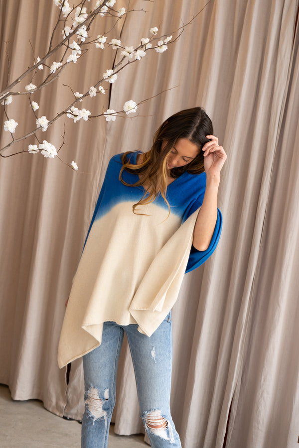 Blue and White Poncho