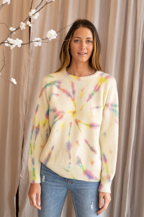 Tie Dye Raglan Sweater in White