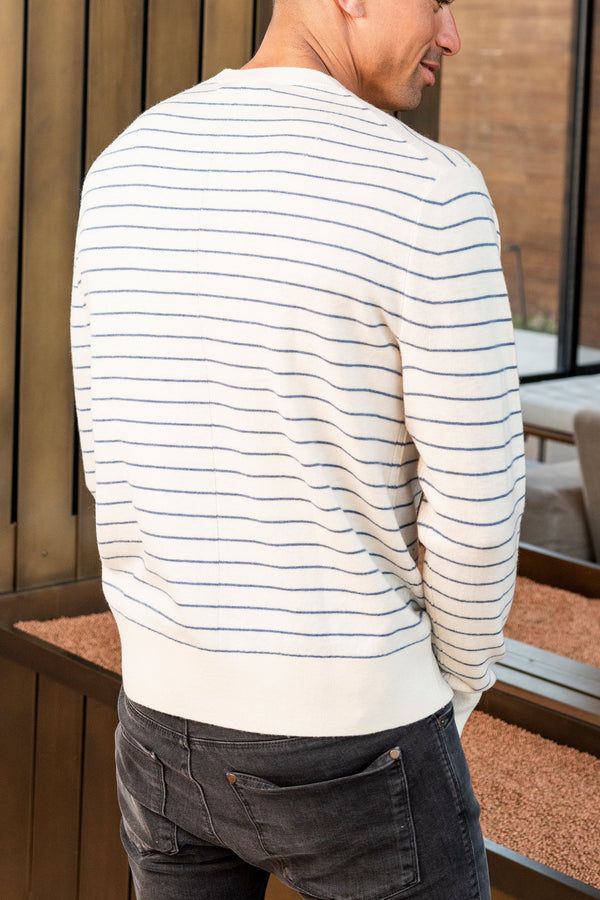 Men's Harlow Striped Crew in Ivory Blue