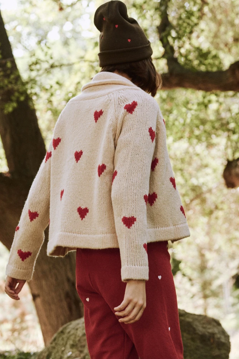 The Heart Lodge Cardigan in Cream with Holly Hearts