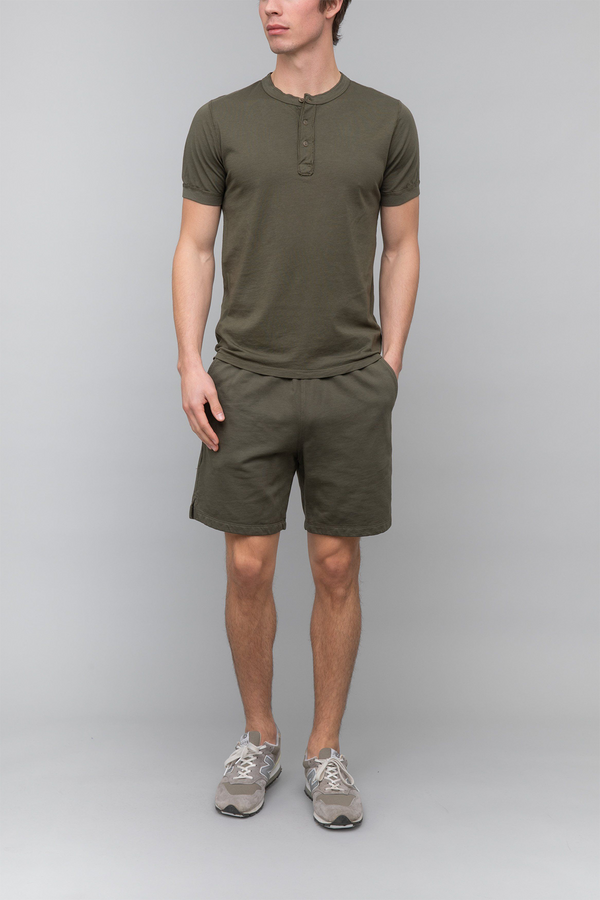 Short Sleeve Supima Henley in Olive