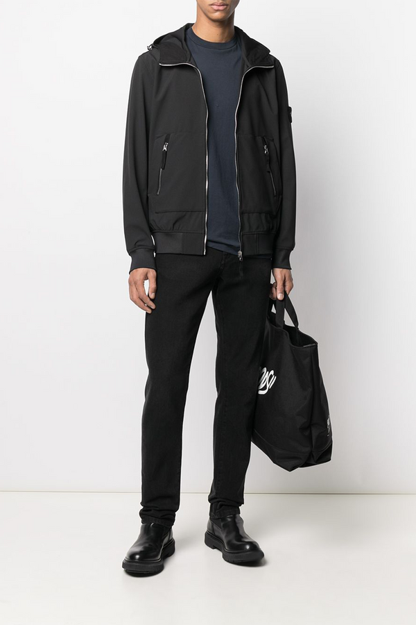 Hooded Blouson Jacket with Front Zip Pockets in Black