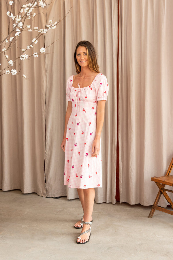 Holland Bow Tie Cotton Dress in Gingham Ice Cream