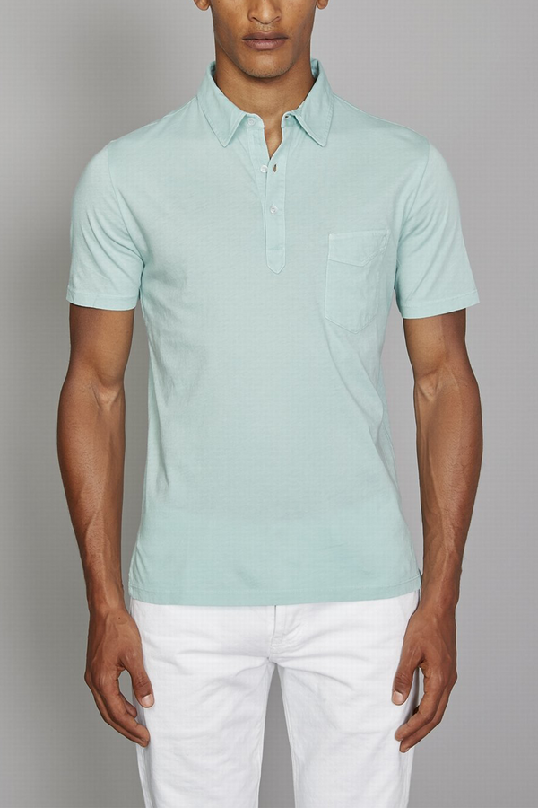Ice Touch Pigment Dyed Collared Button Down Polo in Light Green