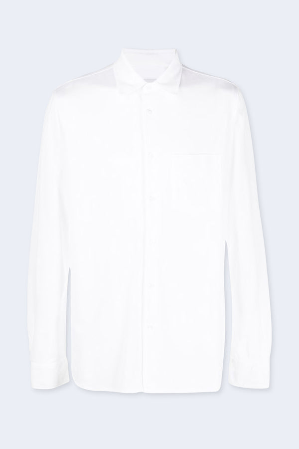 Jersey Pique Shirt with Pocket in White