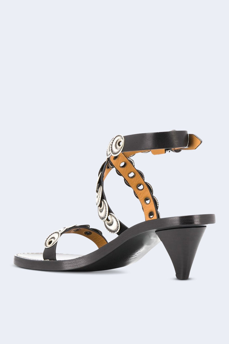Jieva Eyelet Heeled Sandals in Black
