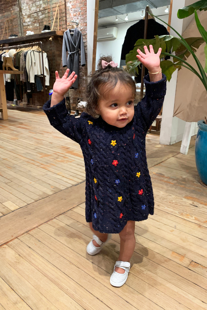 Kid's Wildflower Dress in Speckled Navy