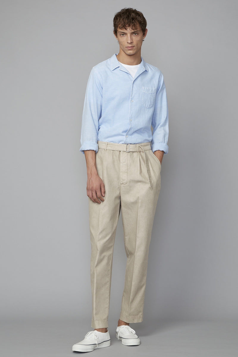 JS Piping Pigment Dyed Cotton Linen Shirt in Pale Blue