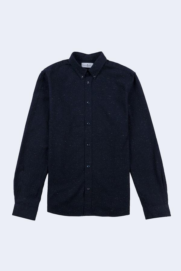 Klark Flecked Denim Button Down Shirt in Dark Navy