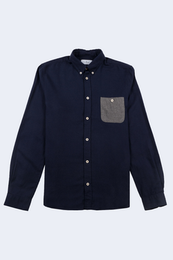 Kolin Brushed Oxford Button Down Shirt in Dark Navy with Grey Pocket