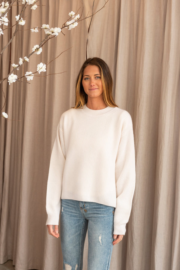 Dubai Ribbed Cropped Loose Body Round Neck Sweater