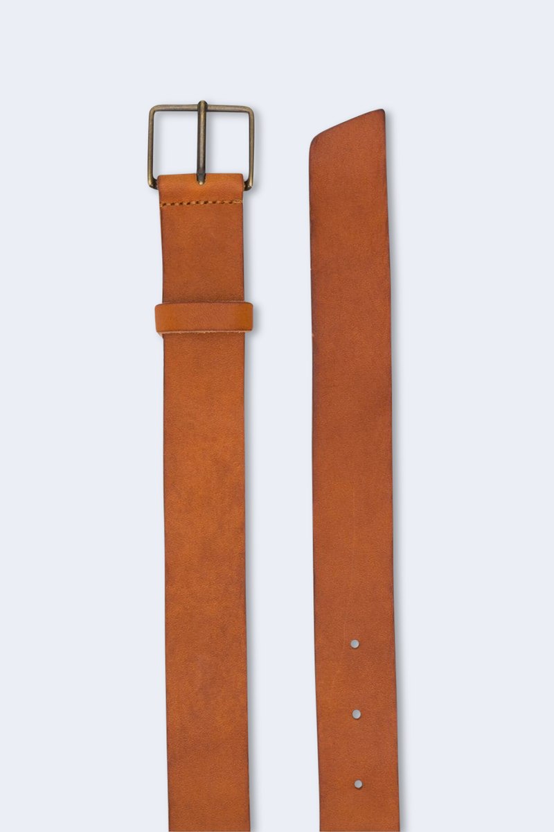 Leather High Belt with Buckle in Miele