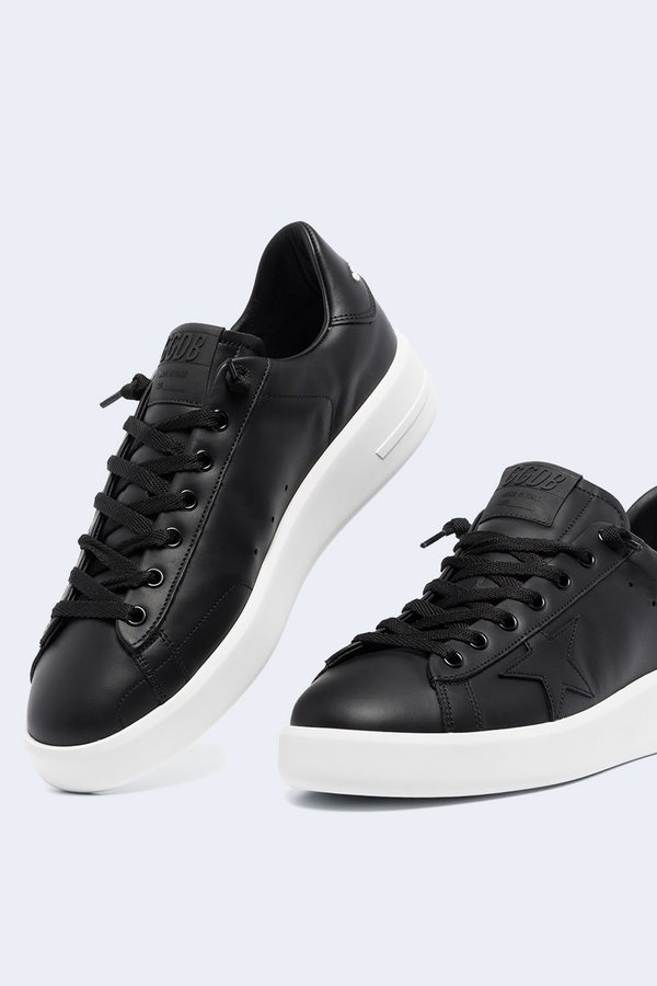 Pure Star Leather Upper Star Sneaker in Black