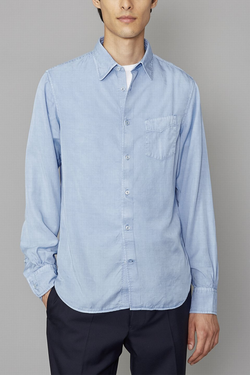 Lipp Stitch Pigment Dyed Cotton Shirt in Pale Blue