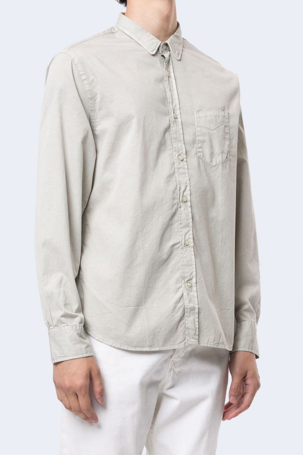 Lipp Stitch Pigment Dyed Twill Collared Button Down Shirt in Stone