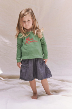 Kids' The Little College Sweatshirt in Christmas Graphic in Winter Green