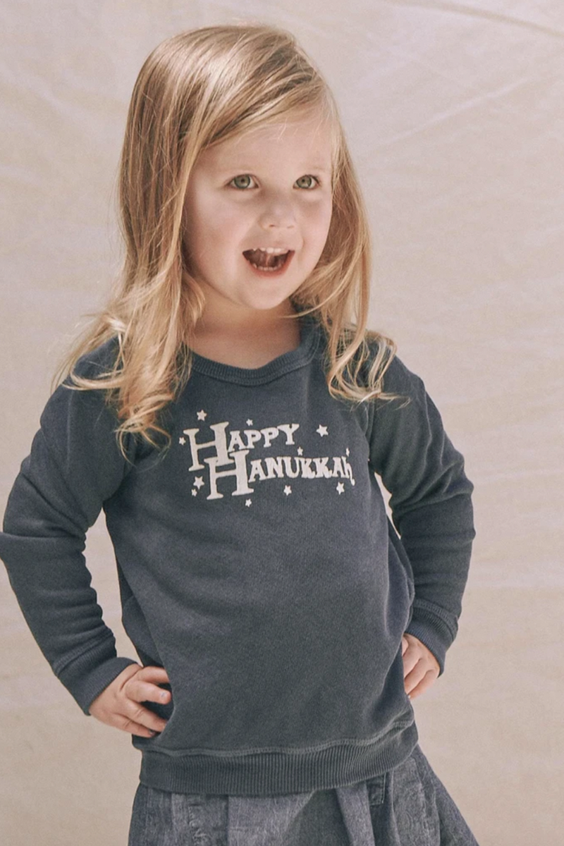 Kids' The Little College Sweatshirt with Hanukkah Graphic in Navy