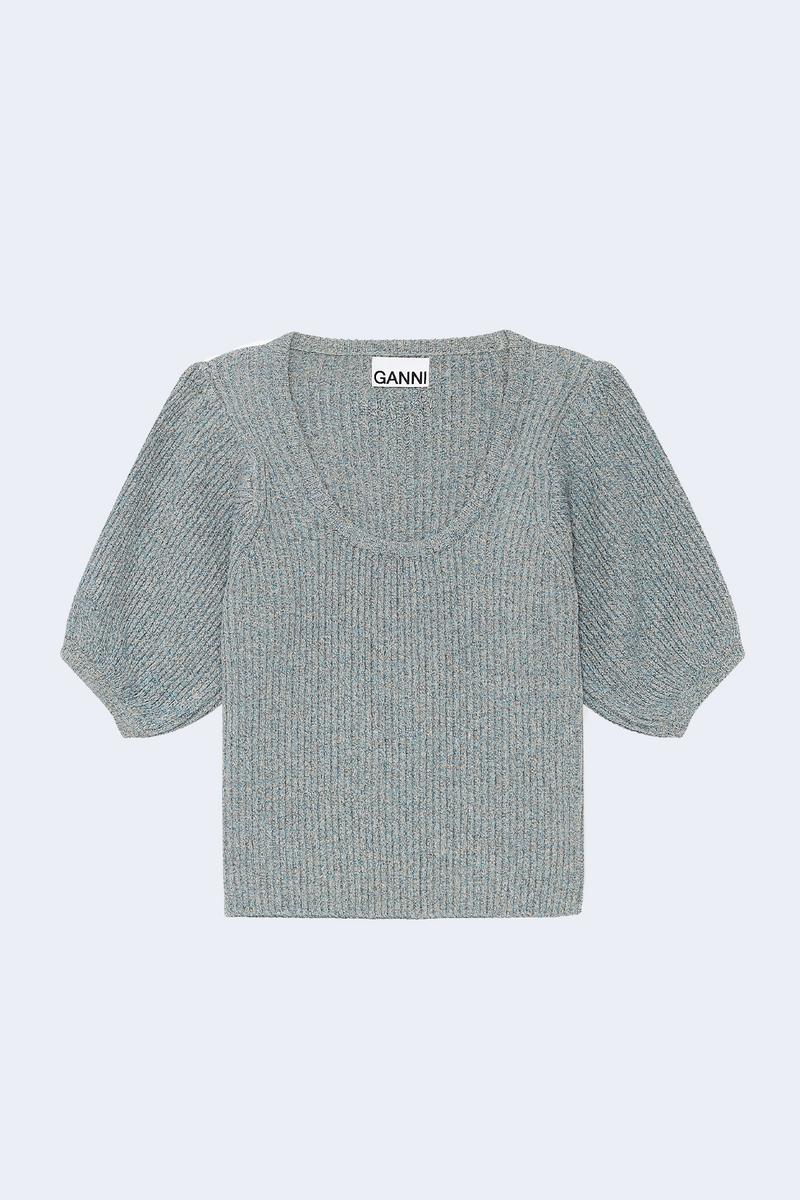 Linen Knit Top in Bachelor Blue