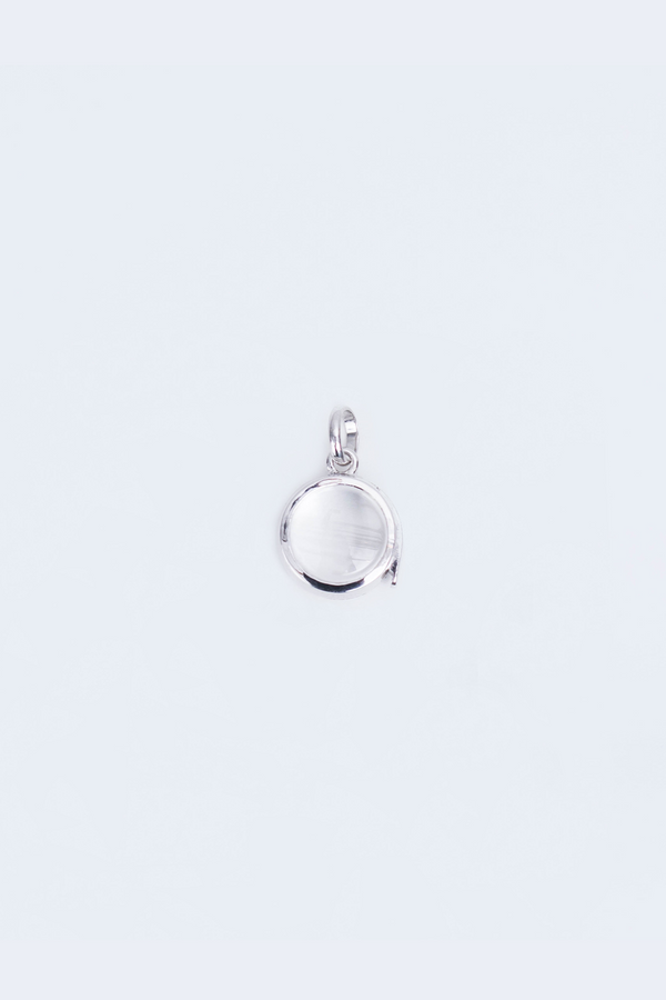 Small Round Locket in White Gold