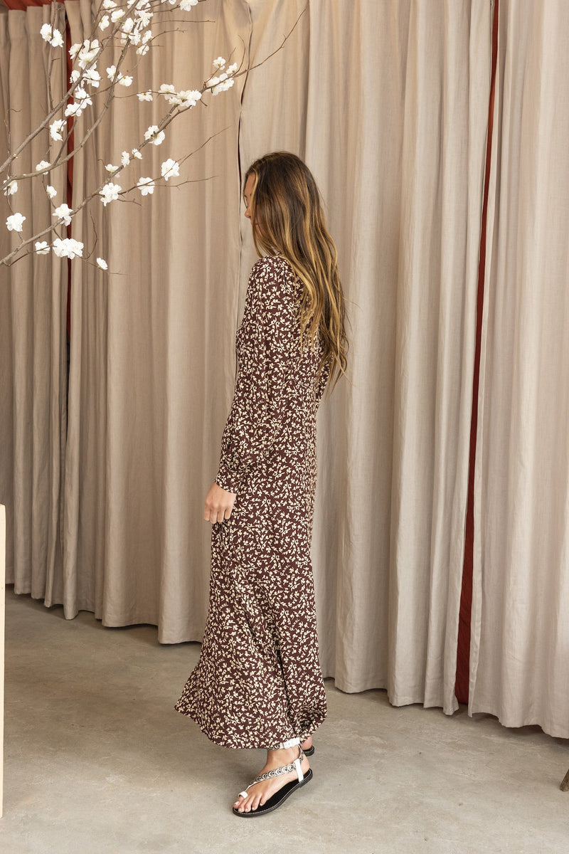 Long Sleeve Printed Crepe Dress in Decadent Chocolate