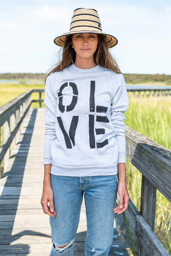 Olive You Sweatshirt in Gray