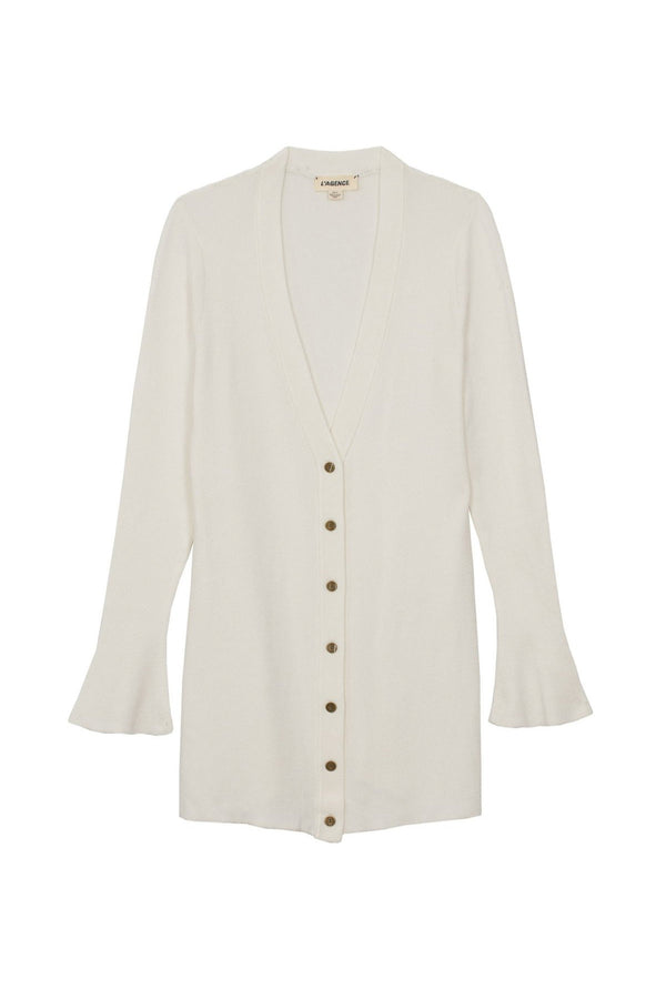 Lucas Long Cardigan in Ivory