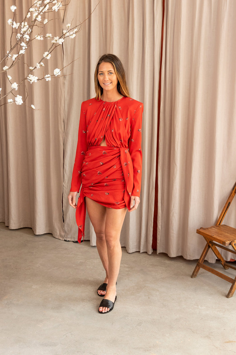San Remo Long Sleeve Dress in Red