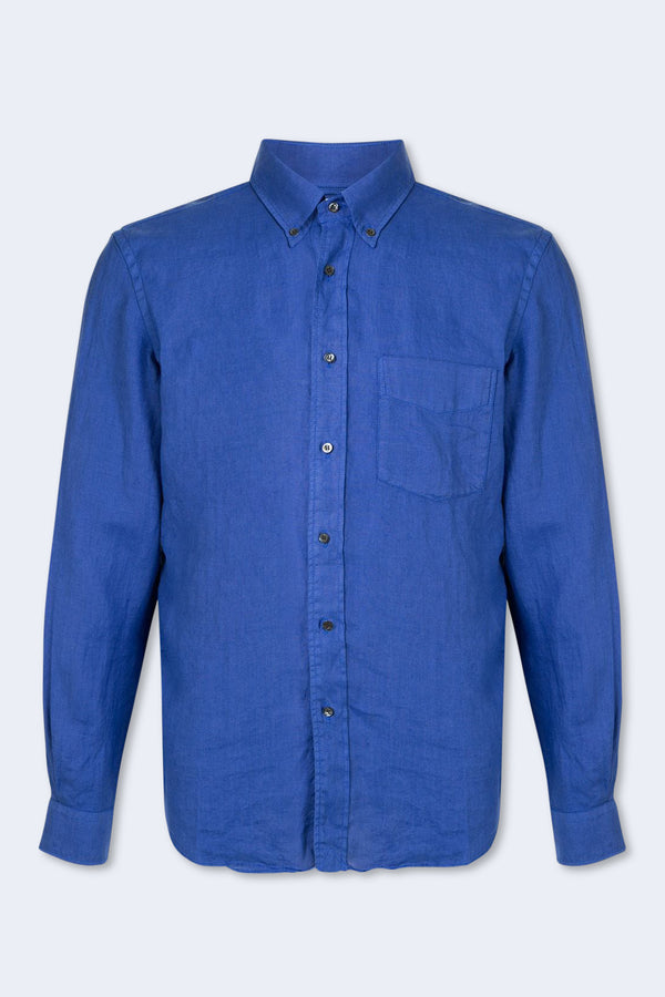Magra Linen Button Down Shirt in Blue