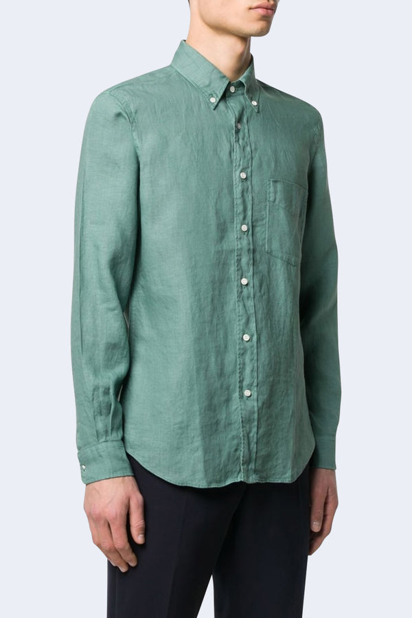 Magra Linen Button Down Shirt in Green