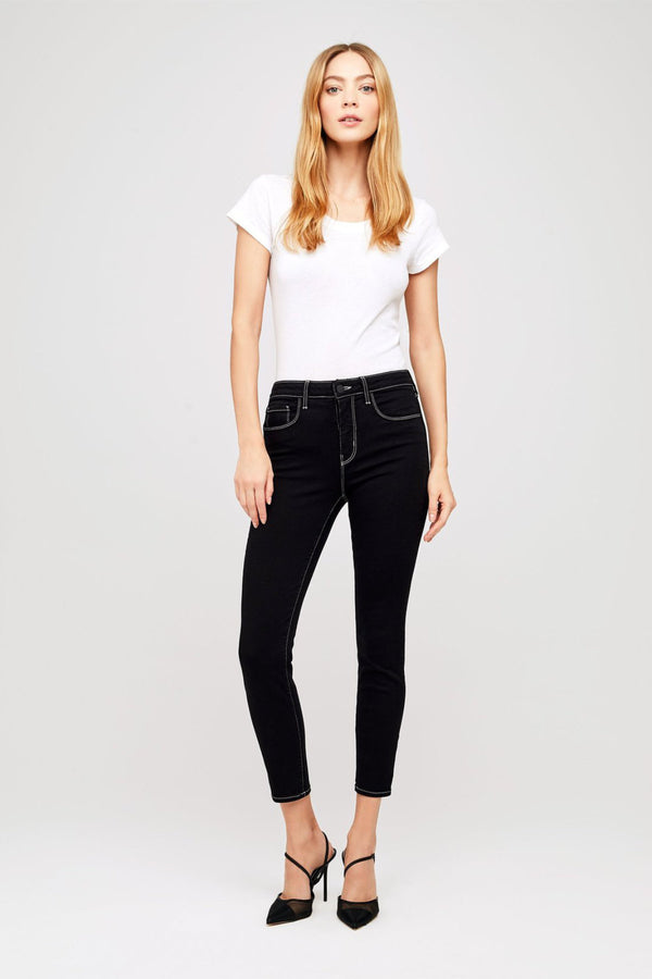 Margot High Rise Skinny Jean with Contrast Stitching in Noir