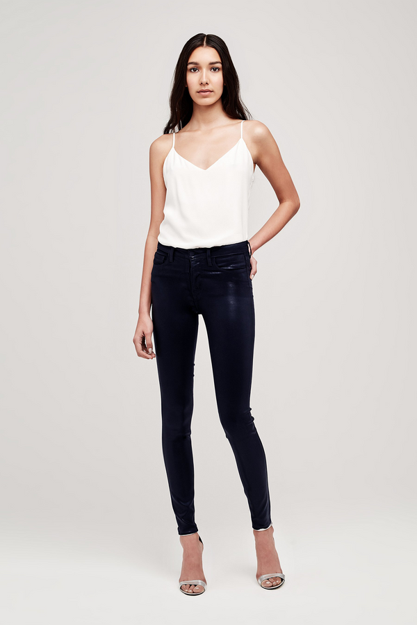 Marguerite High Rise Skinny Jean in Navy Coated